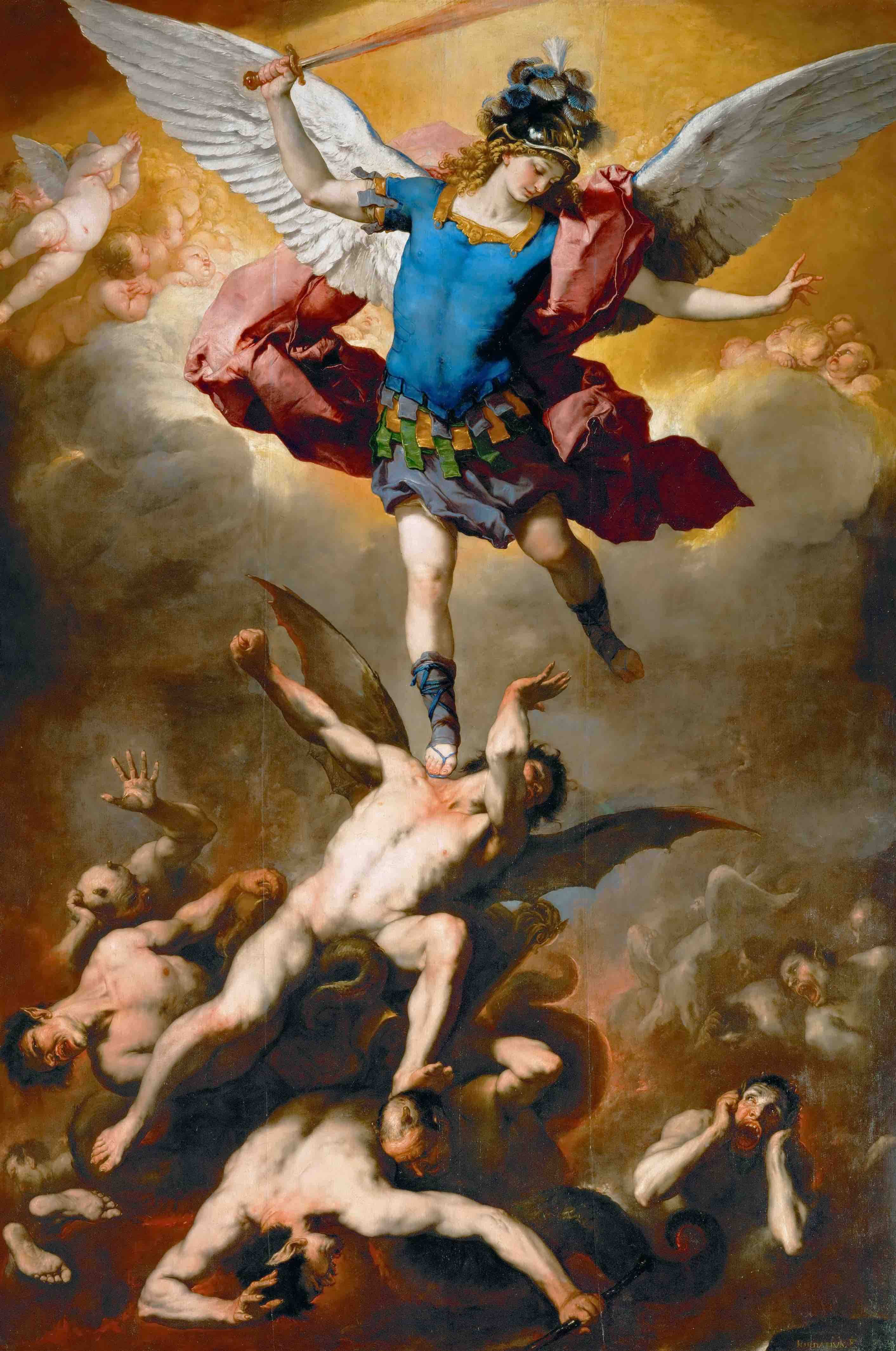 Luca Giordano Archangel Michael Hurls the Rebellious Angels into the Abyss c.1666 light