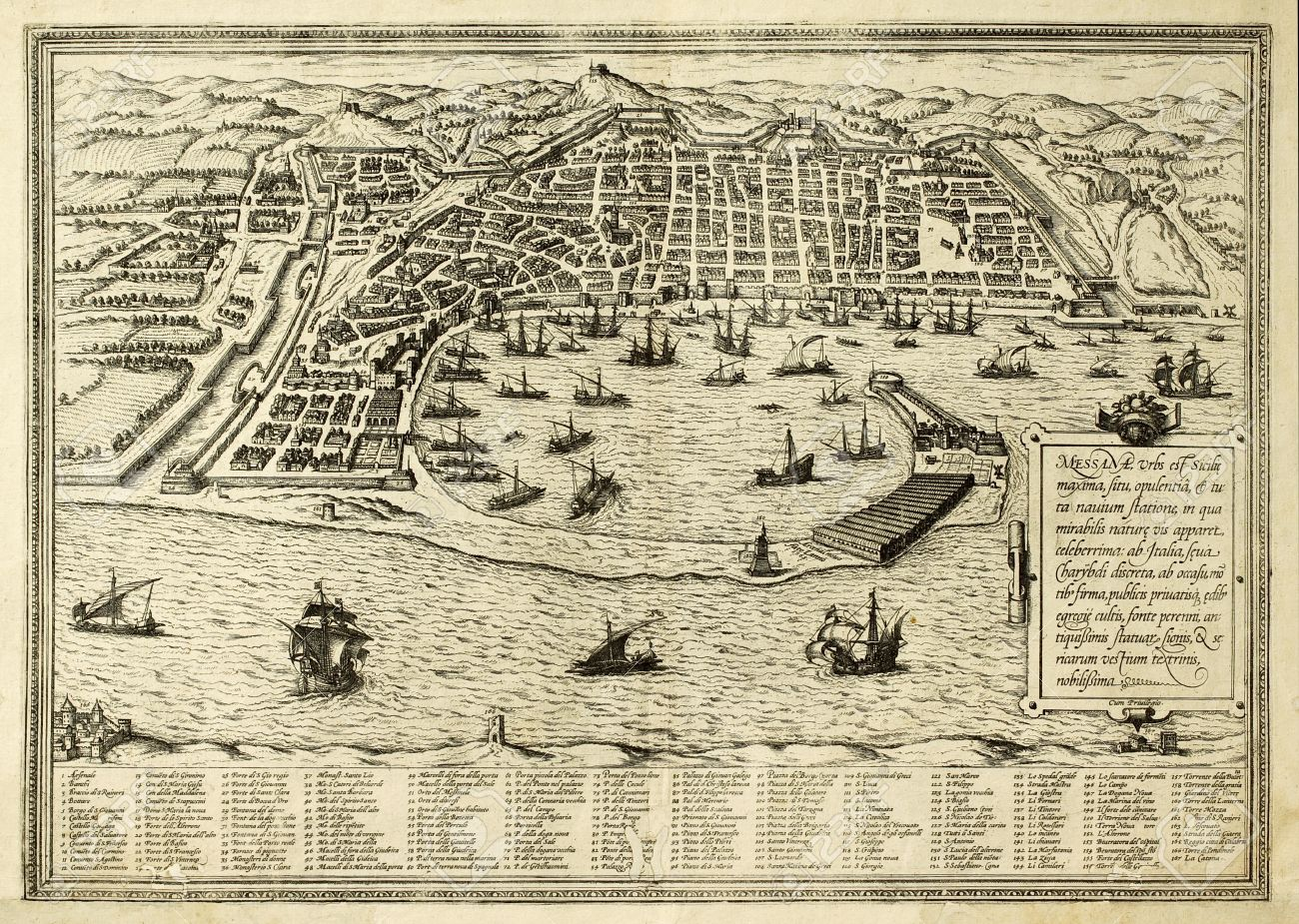 Messina 17th century-map-of-the-town-of-Sicily-separated-from-Italy-by-the-strait-of-the-same-name