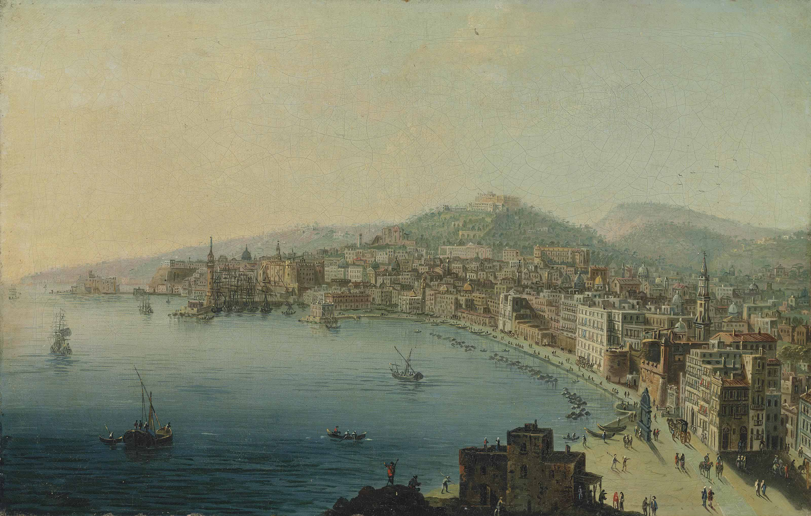 Pietro Antoniani Milan 1740 1805 A view of the Bay of Naples with figures on the Riviera di Chiaia